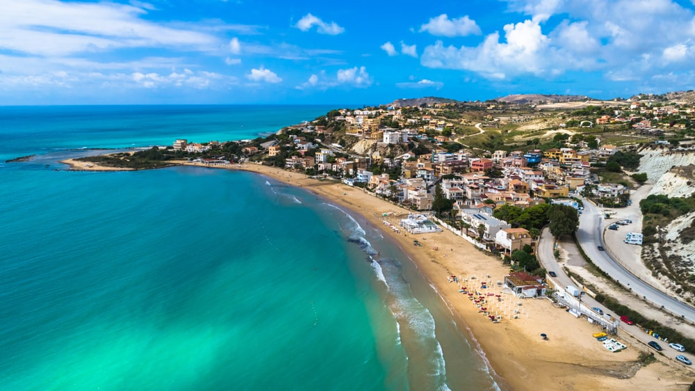 Italy - Public beach near The Scala dei Turchi. Realmonte, near Porto Empedocle, southern Sicily, Italy