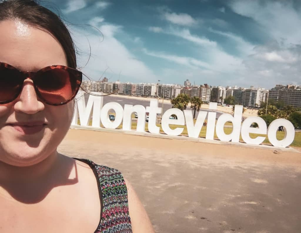 Uruguay - Montevideo - Stephanie at the Montevideo Sign