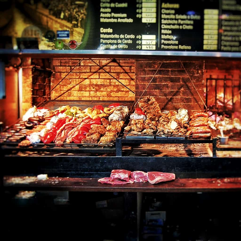 Uruguay - Montevideo - Mercado del Puerto - Wood-burning barbecues called parrillas with Uruguayan food