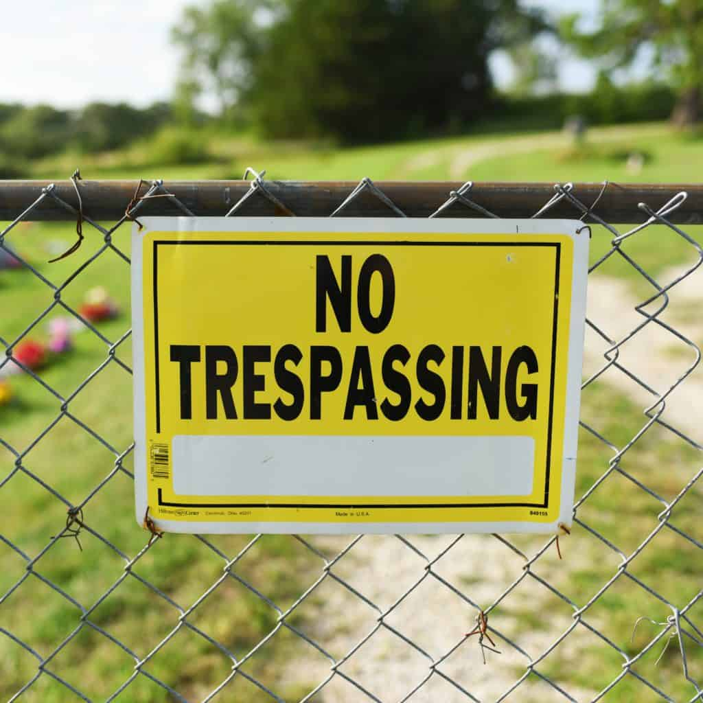 The No Trespassing Sign at Stull Cemetery