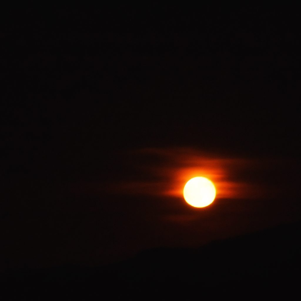 A red moon on our visit to the Wichita Mountains Wildlife Refuge
