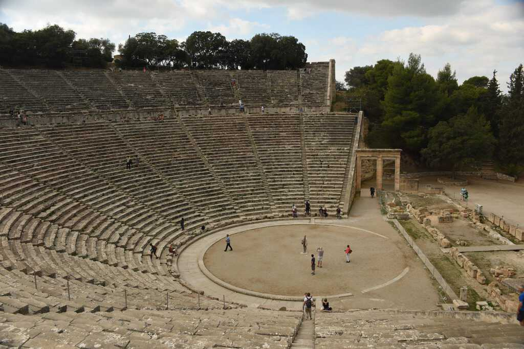 The theater from the highest row. The second tier of seats was added during the Roman era.