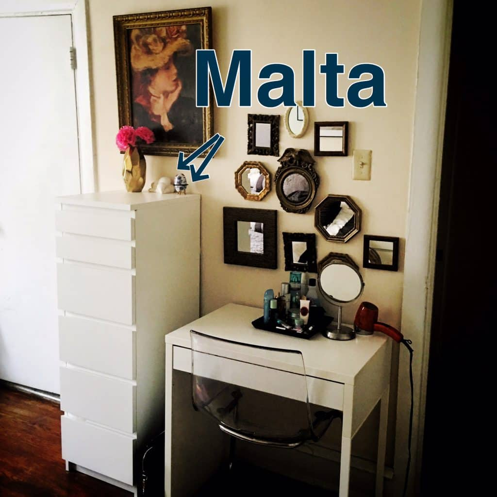 A reproduction figurine and decorative egg from Malta in my former apartment. Both held personal significance far beyond their travel memories.
