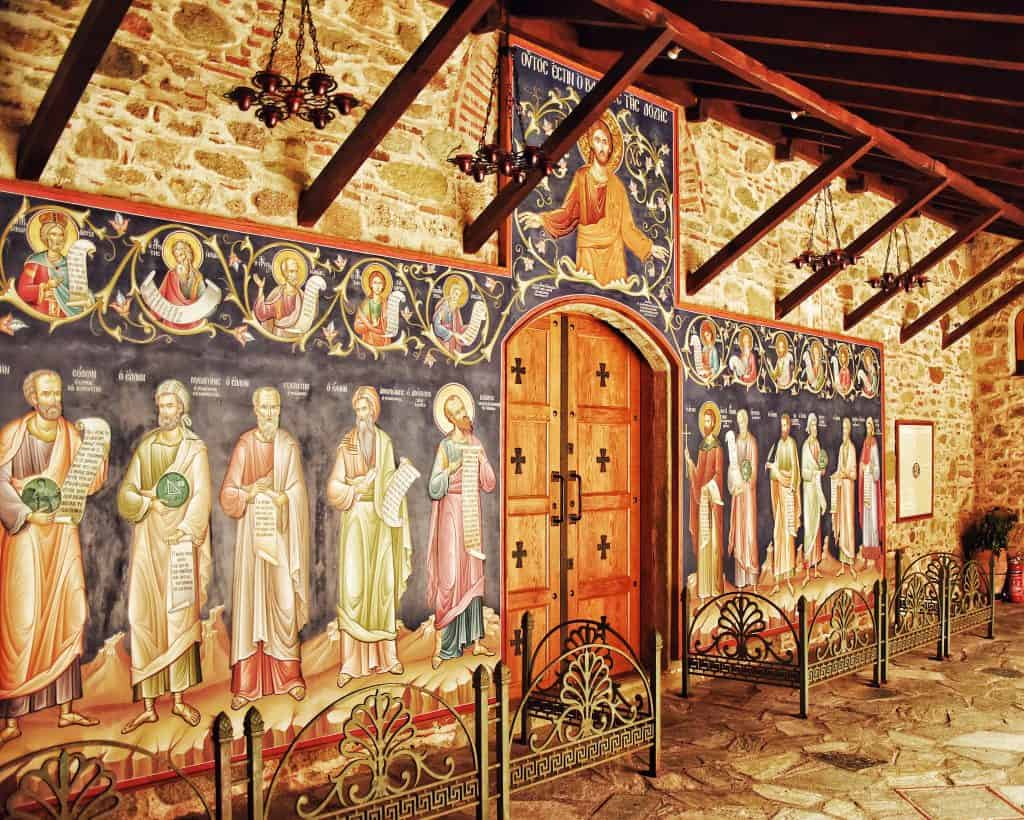 A mural at the Great Meteoron Monastery in Meteora