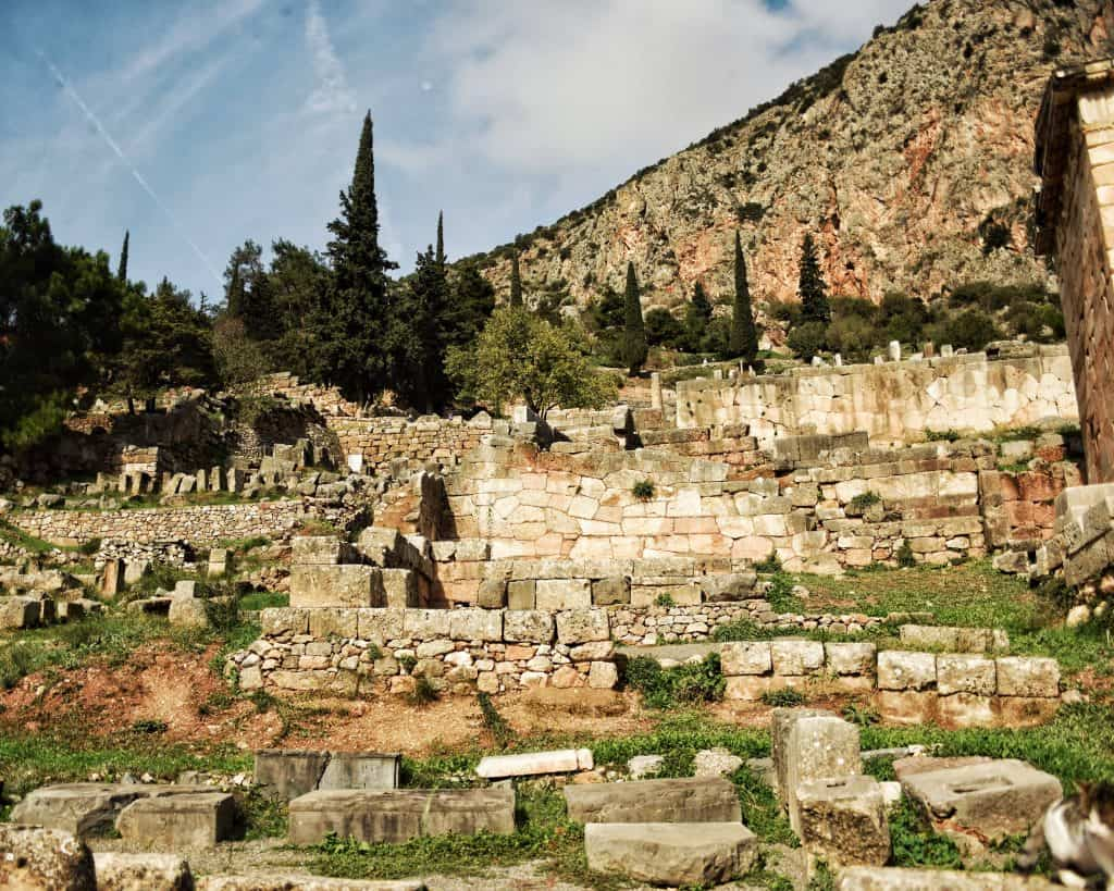 View of the remains of offerings at Delphi