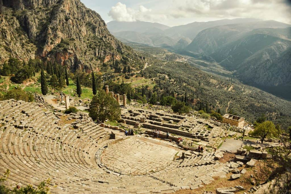 The amphitheater at Delphi from above