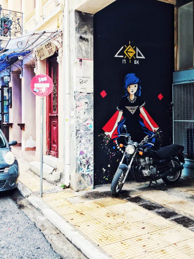 Superhero Mural. Doesn't it look like she's about to get on that motorcycle and drive away?
