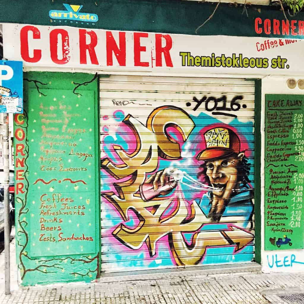 Grafitti on a storefront in Exarchia near Omonoia Square