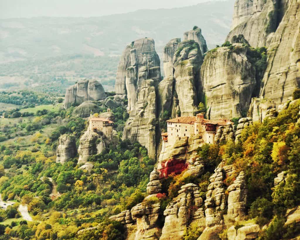 Roussanou Monastery and St. Nikolaos Anapafsas Monastery in Meteora