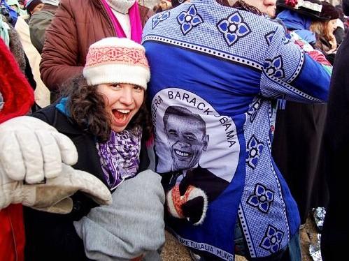 Washington DC - Presidential Inauguration - My friends showing off an amazing Obama jacket