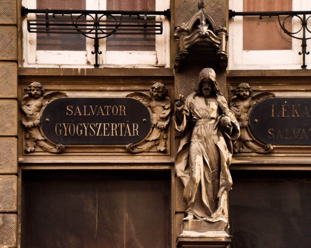 The detail on a Hungarian pharmacy in Old Town