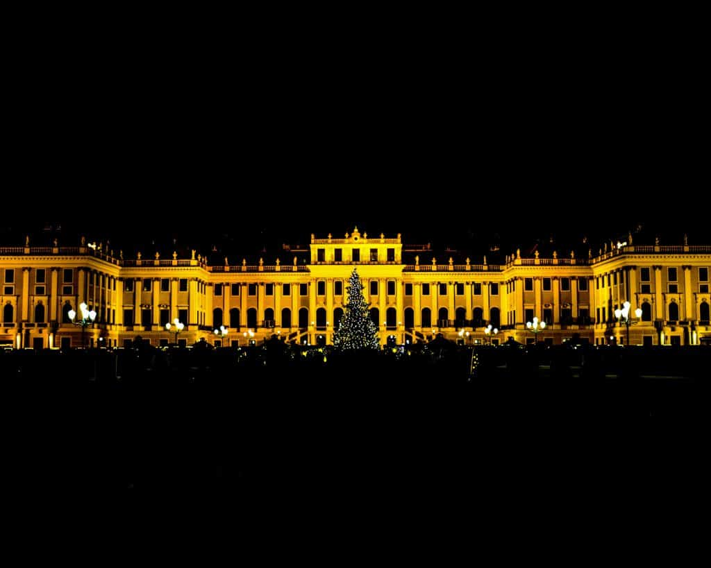 The giant Christmas tree in the middle of the Christmas Market at Schoenbrunn