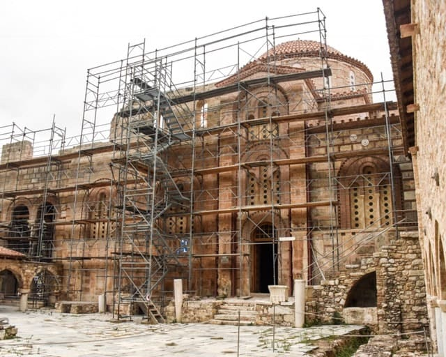 The facade of Daphni Monastery. It's under renovation from earthquake damage in the late nineties.