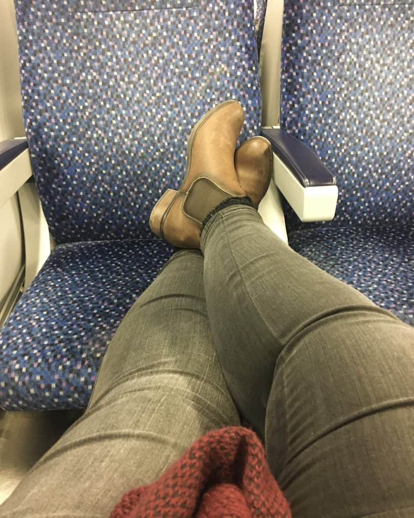 Stretching out on the Train back to Vienna