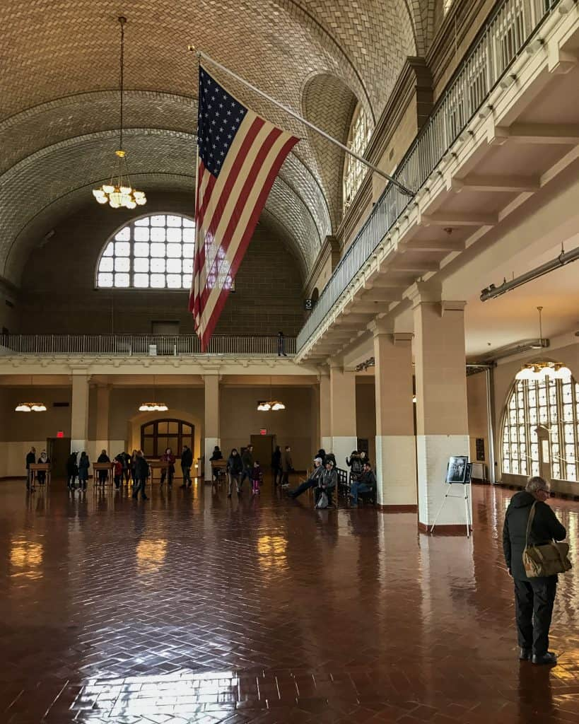 The main hall at Ellis Island, where most immigrants waited to be processed