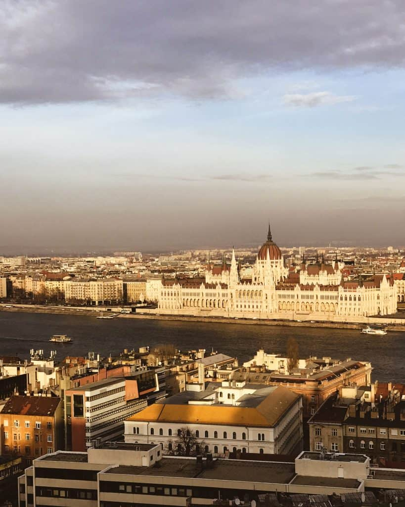 View of the Hungarian Parliament on the banks of the Danube