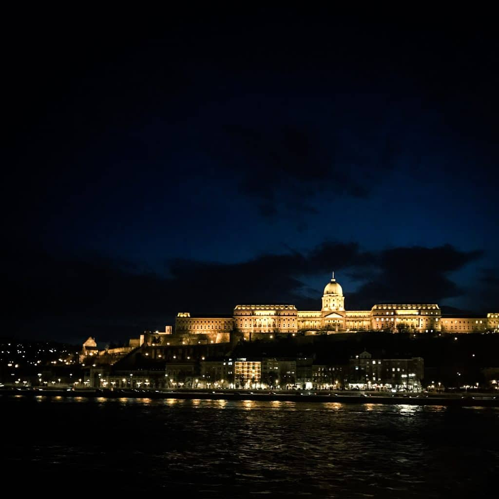 View of the Buda Castle from the Danube at Night