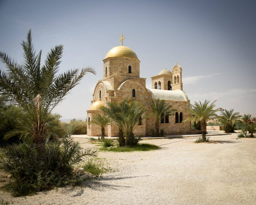 A modern Orthodox church built by the banks of the Jordan river