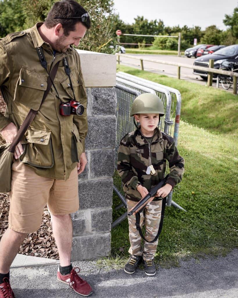 A young reenactor and his Dad at Ponte du Hoc