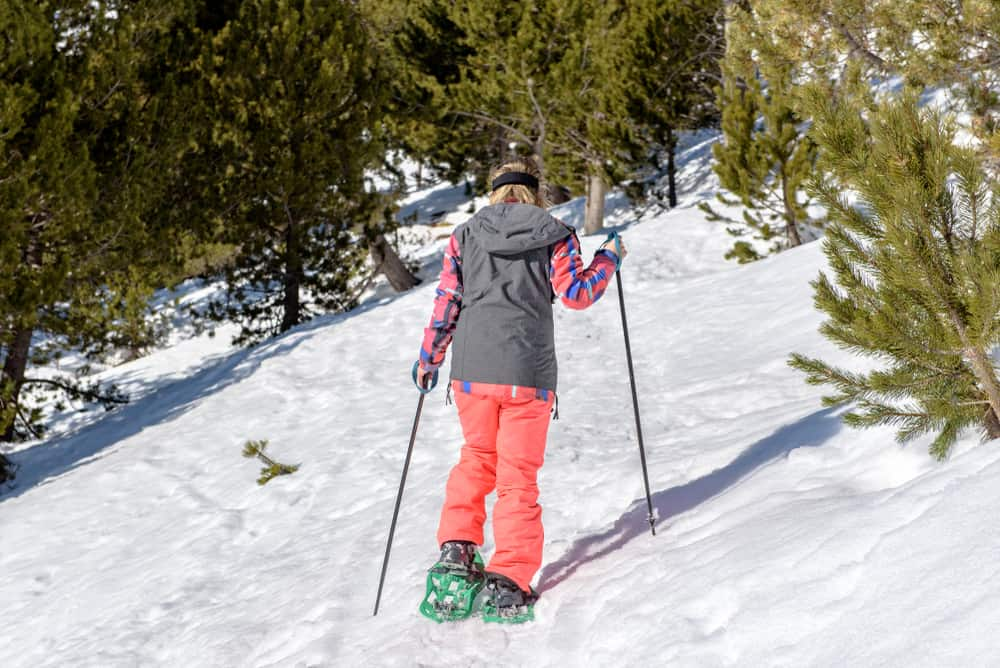 Andorra - Young woman practicing snowshoes on winter trail in incredible sunny day in winter in the Pyrenees in Andorra.