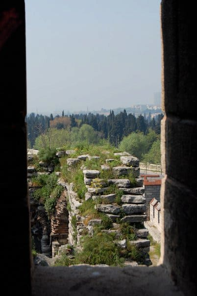 View from one of the towers in the Walls of Constantinople