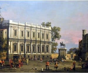 The Banqueting House and the Holbein Gate, Whitehall, with the Equestrian Statue of King Charles I