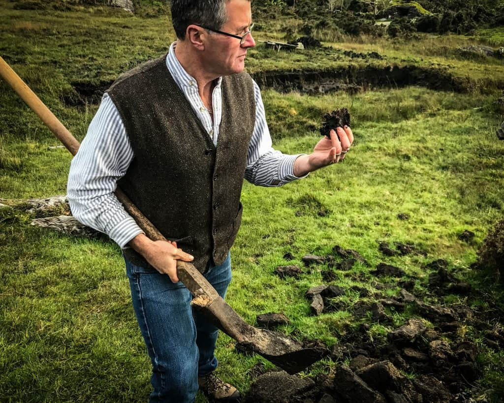 Digging out peat from the bog