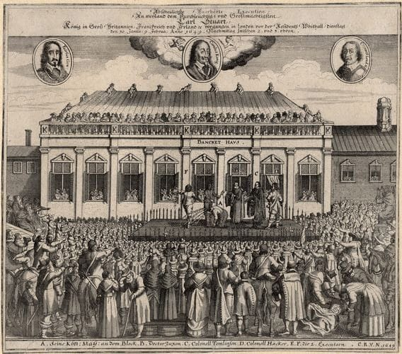 A German engraving of the execution of Charles I in front of Banqueting House (1649)