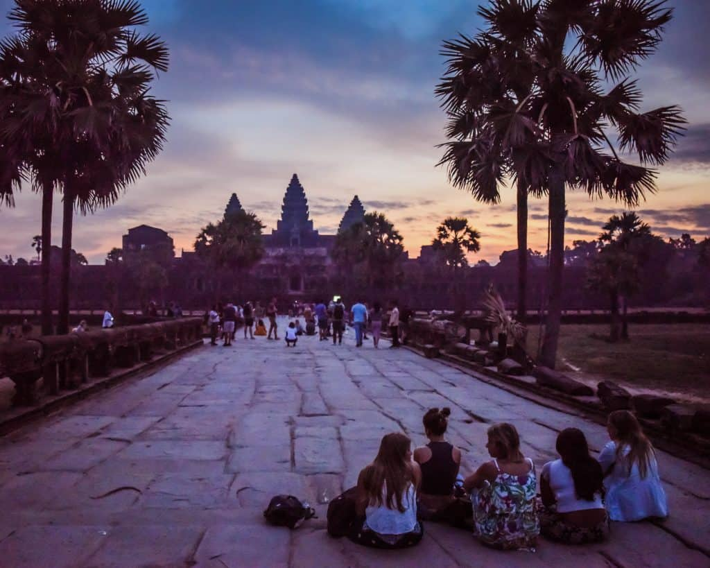 A group of girls waiting for the sunrise at Angkor Wat