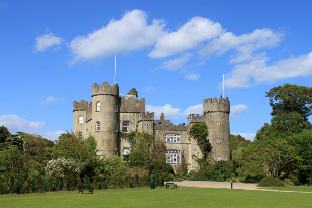 A view of Malahide Castle showing three turrets.