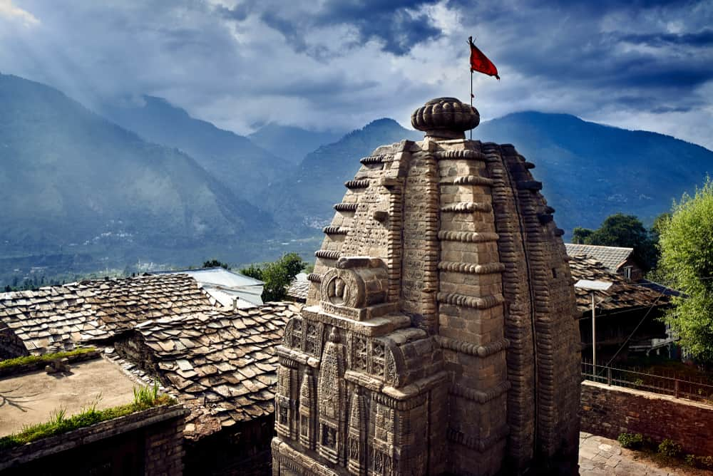Traditional countryside Gauri Shankar Temple in Naggar. Himachal Pradesh, north part of India.