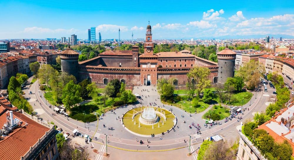 Sforza Castle or Castello Sforzesco aerial panoramic view. Sforza Castle is located in Milan city in northern Italy.