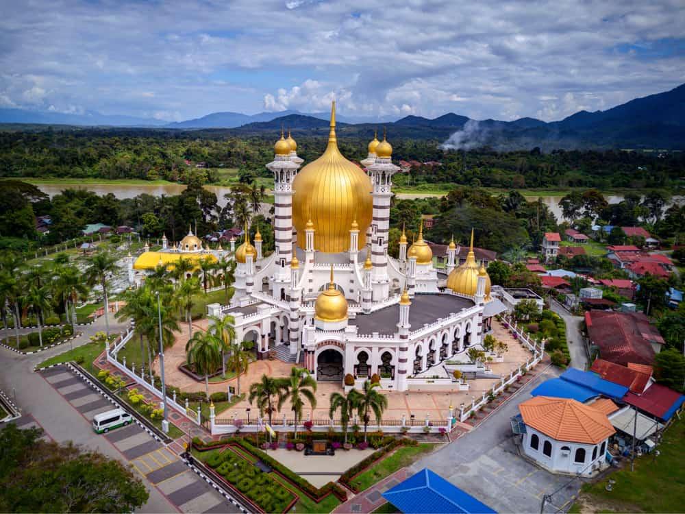 Ubudiah Mosque Aerial view of beautiful mosque in Kuala Kangsar, Malaysia