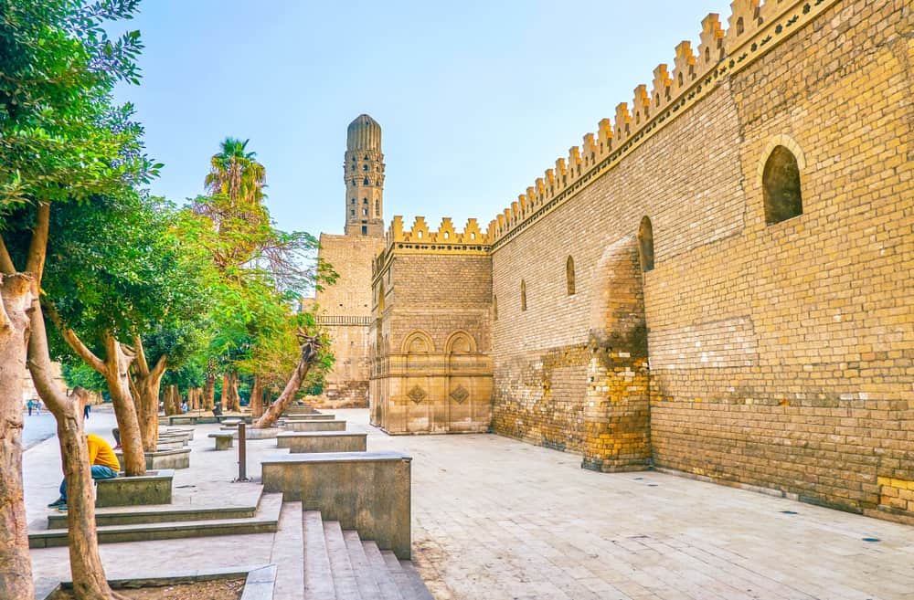 The huge medieval defensive walls of Mosque of al-Hakim, also known as al-Anwar, located in Islamic district of Cairo, Egypt