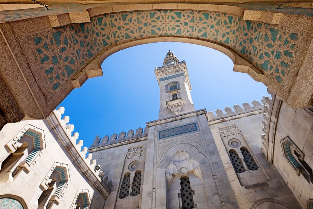 WASHINGTON DC Islamic Center mosque, which opened in 1957. Looking up from the interior courtyard, the minaret is seen against the blue sky.