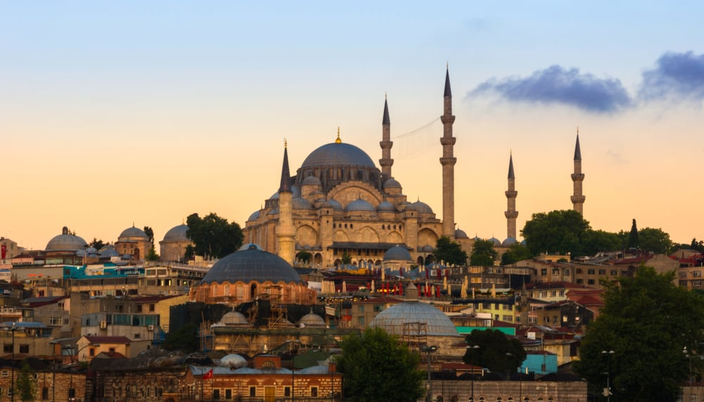 Istanbul, View of the pier Eminonu, View on the Suleymaniye Mosque.
