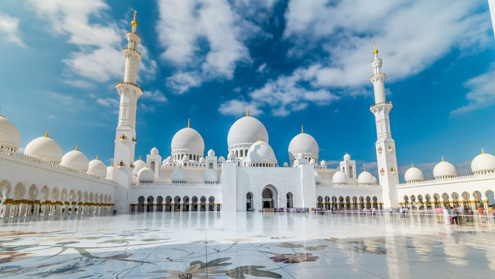 Fountain at Sheikh Zayed Grand Mosque timelapse hyperlapse located in Abu Dhabi - capital city of United Arab Emirates. Mosque was initiated by late President of UAE Sheikh Zayed bin Sultan Al Nahya