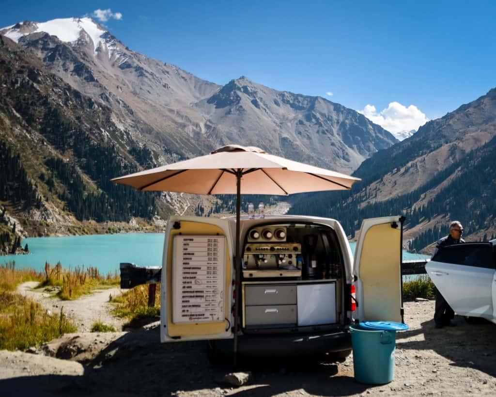 A coffee cart at Big Almaty Lake