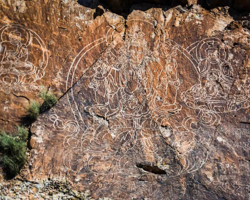 The main and most elaborate Buddhist petroglyph at Tamgaly Tas