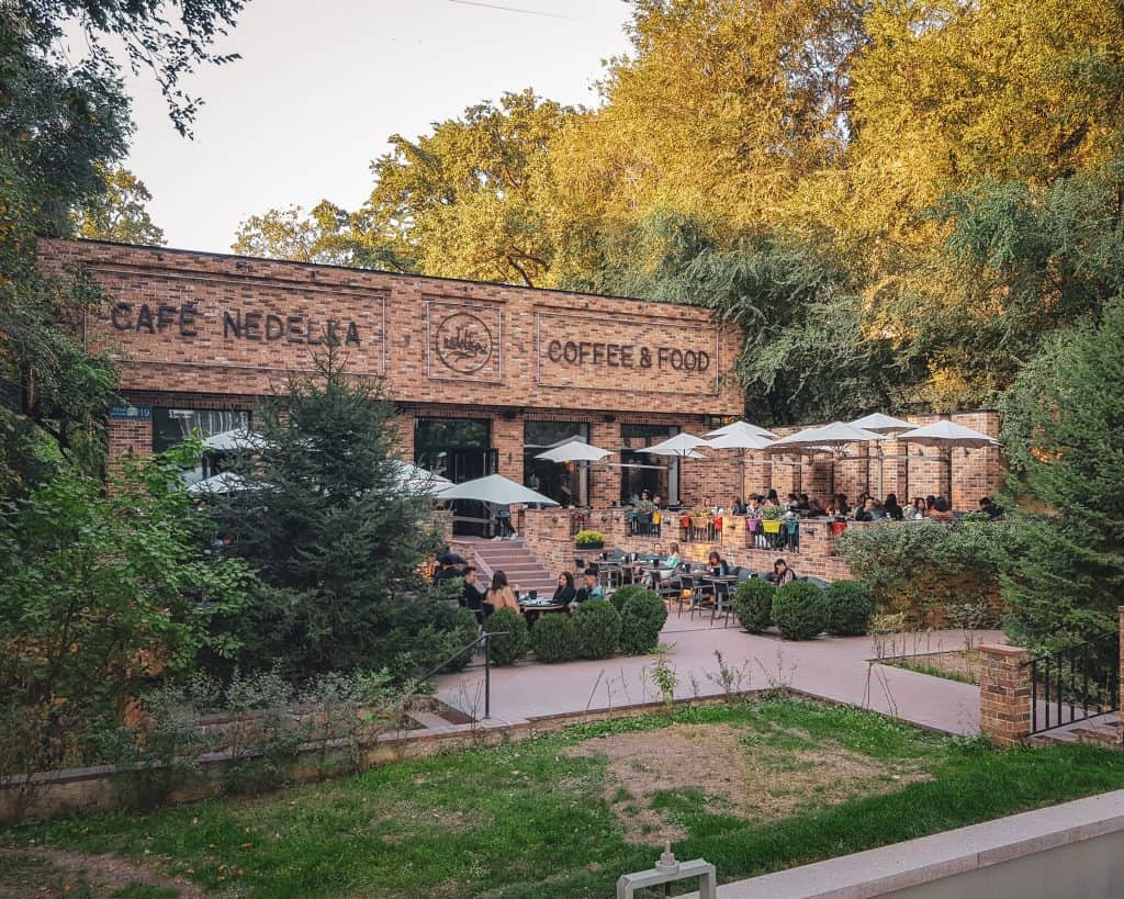 When the weather was nice, it was lovely to work from Cafe Nedelka's large garden, one of many great Almaty cafes I worked at during my trip.