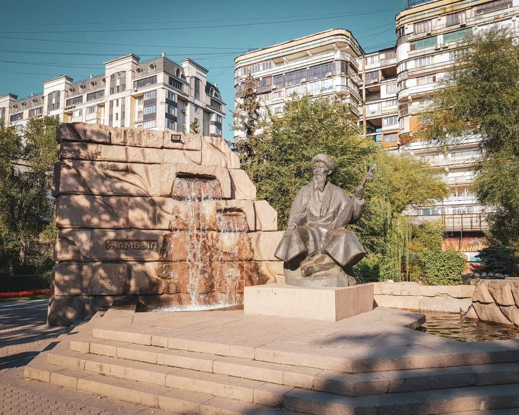 Monument to Jambyl Jabayev, a Kazakh folk-singer credited with many pro-Stalin and pro-Soviet poems and songs, thus becoming one of the few native Kazakhs to be celebrated by the USSR
