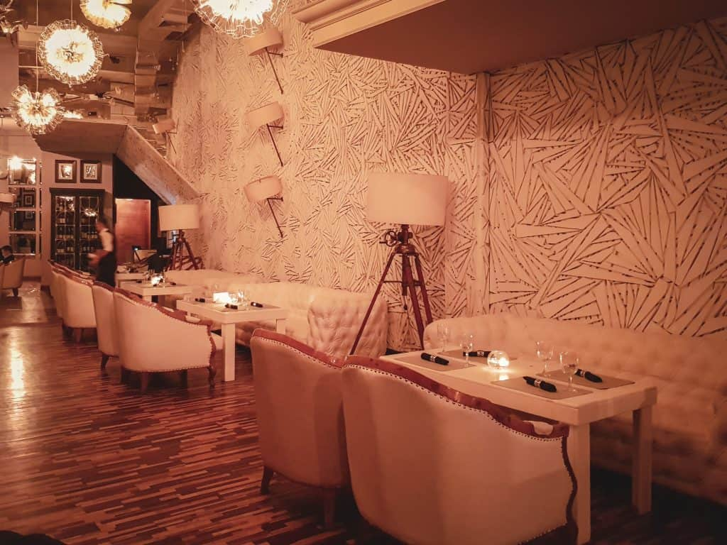 The opulence of the restaurant atop the Hotel Kazakhstan is an example of Central Asian Swag done well and elevates a glass of Port to a full-on experience. The telescopes set up for each table really put things over the top.