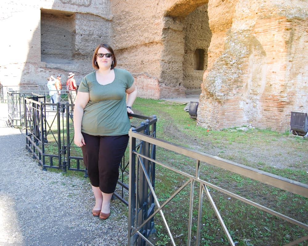 Italy - Rome - Stephanie at the Baths of Caracalla
