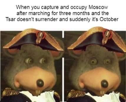 Invading Russia in winter meme