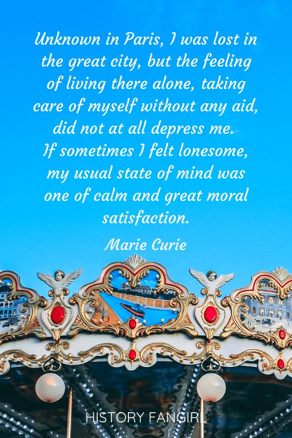 Marie Curie alone in Paris quotes