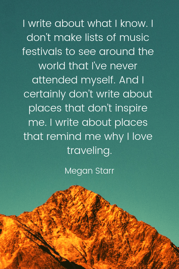 Megan Starr quote about authenticity in travel writing