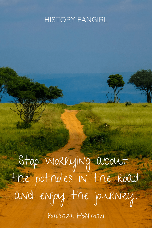 Stop worrying about the potholes in the road and enjoy the journey. Barbara Hoffman quotes for traveler
