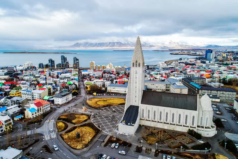 Iceland - Reykjavik - Hallgrímskirkja Drone Shot