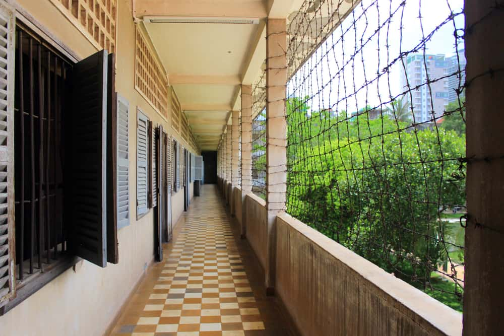 Panorama of classroom converted to prison at the Tuol Sleng Genocide Museum, formerly S21 school used as detention and torture center by the Khmer Rouge, in Phnom Penh Cambodia
