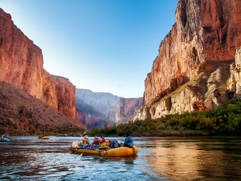 USA - Arizona - Rafting on The Colorado River in the Grand Canyon at sunrise